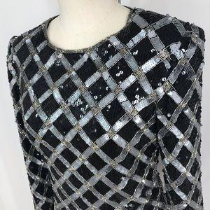Talbots Tops - Talbots Vintage sequin silk blouse small petite.
